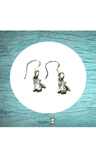 Boucles d'oreilles argent pingouin