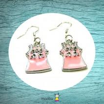 Boucles d'oreilles robe rose