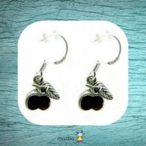 Boucles d'oreilles pomme noire