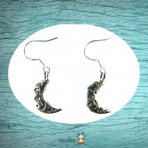 Boucles d'oreilles lune argent tibétain