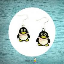Boucles d'oreilles pingouin noir et jaune