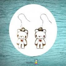 Boucles d'oreilles ours blanc