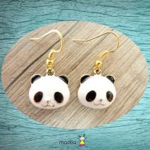 Boucles d'oreilles panda noir et blanc
