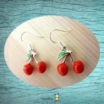 Boucles d'oreilles cerises et feuille verte
