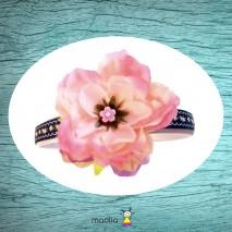Serre-tête rose et bleu marine à fleur