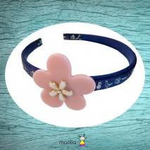 Serre-tête bleu marine et fleur rose en résine