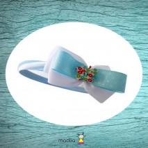 Serre-tête bleu ciel gros noeud tissu