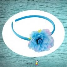 Serre-tête satin bleu et fleur de lotus tissu