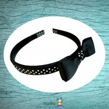 Serre-tête imprimé noeud noir et blanc