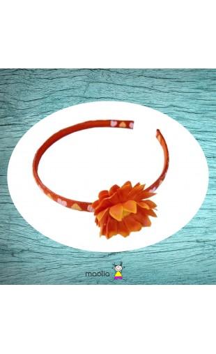 Serre-tête imprimé noir fleur et gerbera orange