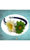 Serre-tête imprimé fleuri et deux fleurs