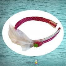 Serre-tête imprimé fraise et plumes blanches