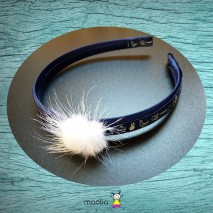 Serre-tête imprimé bleu marin pompon blanc