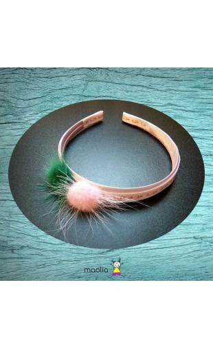 Serre-tête rose et vert pompons en vison