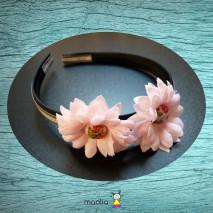 Serre-tête noir beige deux fleurs roses