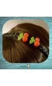 Serre-tête tresse noire cerises rouges