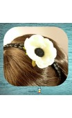 Serre-tête tresse noire fleur blanche