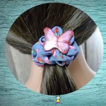 Chouchou tissu bleu imprimé fraises et papillon