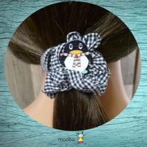 Chouchou tissu carreaux noir et blanc avec pingouin