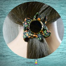Chouchou tissu fleuri noir, vert et rouge orangé