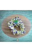 Chouchou tissu fleuri blanc vert et bleu