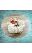 Chouchou tissu beige et blanc