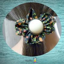Chouchou tissu fleuri noir grand modèle