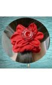 Chouchou tissu rouge grand modèle