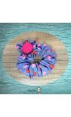 Chouchou tissu bleu et rose grand modèle