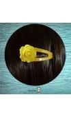 Barrette plastique jaune grosse fleur