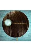 Pince bronze cabochon bleu uni