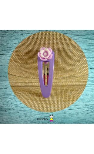 Barrette plastique mauve fleur deux tons