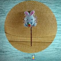 Pince argent lapin bleu