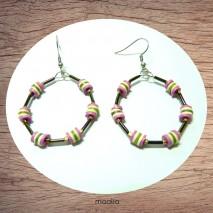 Maolia - Boucles d'oreilles créoles colorées Heishi