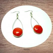 Maolia - Boucles d'oreilles disque émaillé rouge