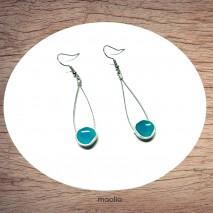 Maolia - Boucles d'oreilles disque émaillé bleu