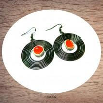 Maolia - Boucles d'oreilles disque noir et orange