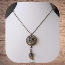 Maolia - Collier bronze pendentif pression centre anthracite nacré