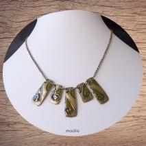 Maolia - Collier bronze éléments géométriques émaillés verts