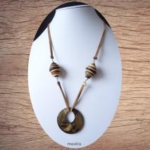 Maolia - Sautoir pendentif émaillé suédine brune