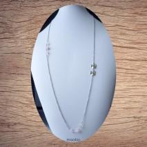 Maolia - Sautoir chaîne acier et perles roses