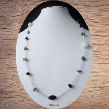 Maolia - Collier sautoir perles naturelles grises et blanches