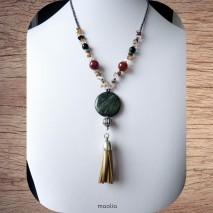 Maolia - Collier sautoir perles naturelles gros pendentif vert