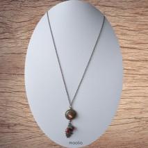 Collier bronze pendentif pression centre rouge brun nacré