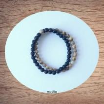 Maolia - Bracelet perles naturelles deux rangs onyx et jaspe