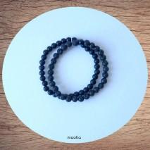 Maolia - Bracelet perles naturelles deux rangs onyx et agate