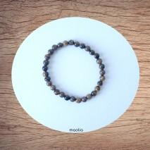 Bracelet perles naturelles deux rangs onyx et pierre de lave