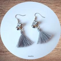 Maolia - Boucles d'oreilles perles argent et pompon gris