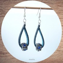 Maolia - Boucles d'oreilles cuir bleu marine et perle strass