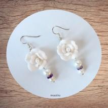 Maolia - Boucles d'oreilles fleur et perles blanches